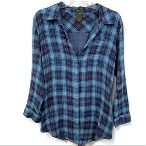 Anthropologie Fei Flannel/Plaid Button Up Top